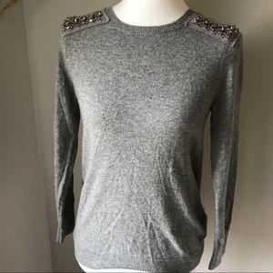 JCrew cashmere blend embellished sweater
